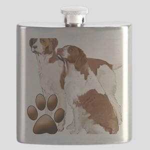 brittany spaniels2 Flask