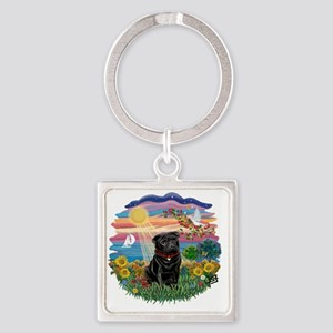 Autumn Sun - Black Pug 17 Square Keychain