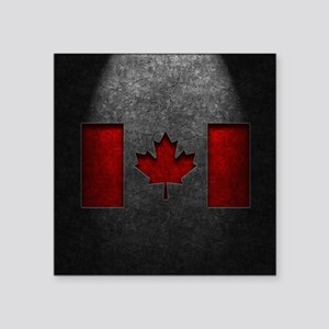 """Canadian Flag Stone Texture Square Sticker 3"""" x 3"""""""