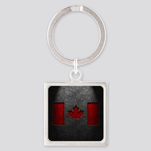 Canadian Flag Stone Texture Square Keychain
