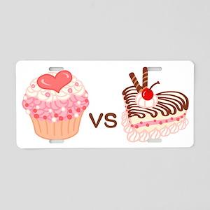 Cupcake VS Cheesecake Aluminum License Plate