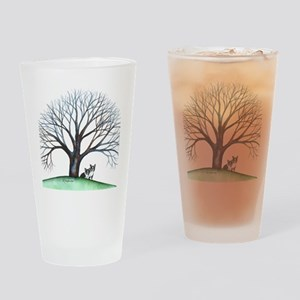 boston terriers and tree squared Drinking Glass