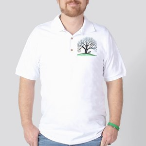 boston terriers and tree squared Golf Shirt