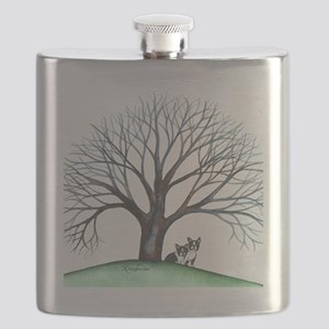 boston terriers and tree squared Flask