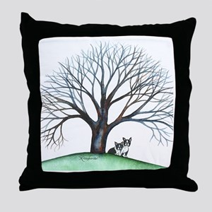 boston terriers and tree squared Throw Pillow