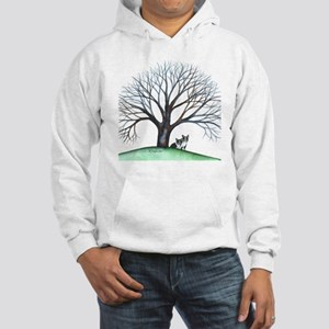 boston terriers and tree squared Hooded Sweatshirt