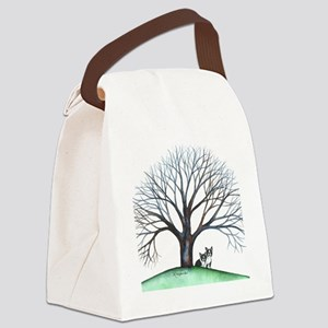 boston terriers and tree squared Canvas Lunch Bag
