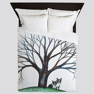 boston terriers and tree squared Queen Duvet