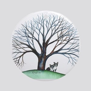 boston terriers and tree squared Round Ornament