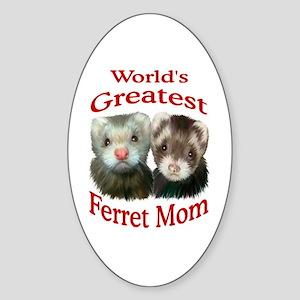 World's Greatest Ferret Mom Oval Sticker