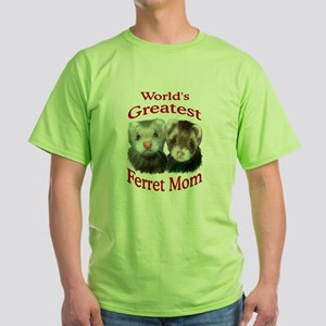 World's Greatest Ferret Mom Green T-Shirt