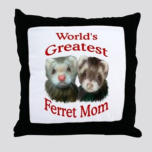 World's Greatest Ferret Mom Throw Pillow