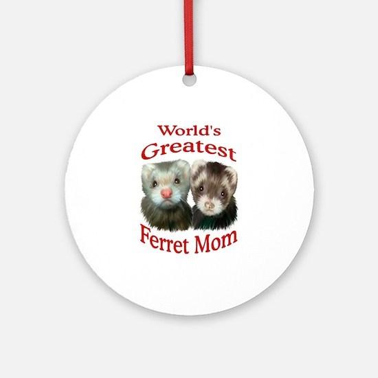 World's Greatest Ferret Mom Ornament (Round)