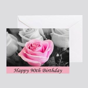 Happy 90th Birthday Pink Rose Card Greeting Cards