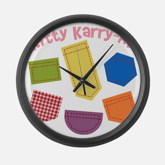 kitty-karry-all-patches Large Wall Clock