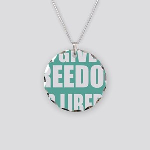 freedom impact blue darker Necklace Circle Charm