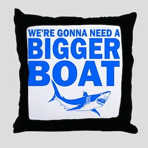BiggerBoatJaws Throw Pillow