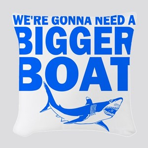 BiggerBoatJaws Woven Throw Pillow