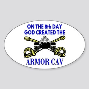 8th Day God Created Armor Cav Oval Sticker
