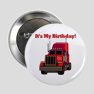 Semi Truck Birthday Button