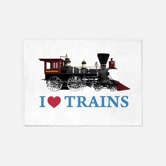 I LOVE TRAINS BLUE copy 5'x7'Area Rug