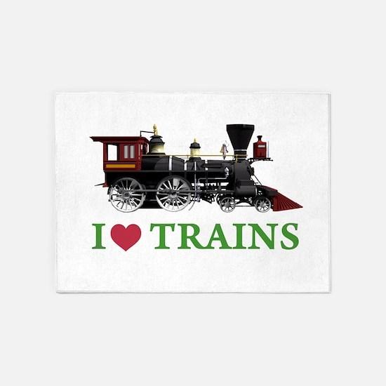 I LOVE TRAINS GREEN copy 5'x7'Area Rug