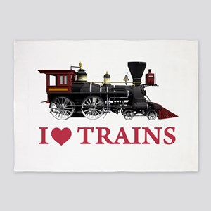 I LOVE TRAINS RED copy 5'x7'Area Rug