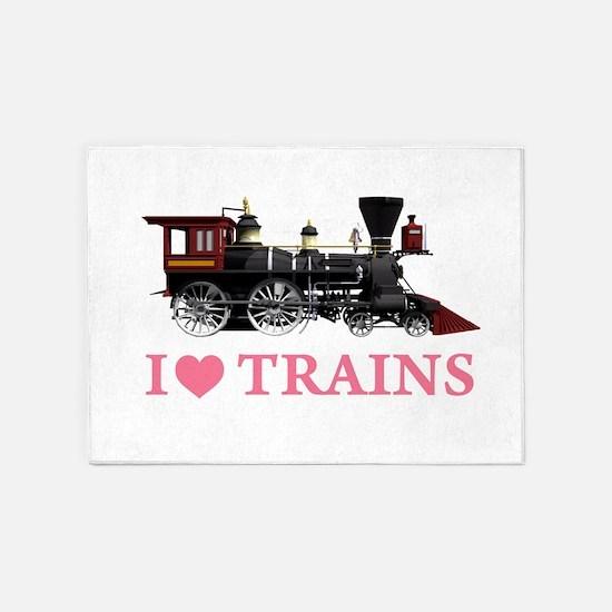 I LOVE TRAINS PINK copy 5'x7'Area Rug