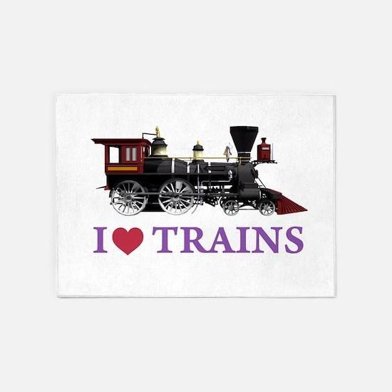 I LOVE TRAINS PURPLE copy 5'x7'Area Rug