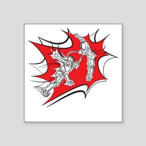 "10x10_epee_Splash1-Wht Square Sticker 3"" x 3"""