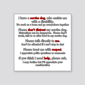 "Service Dog Etiquette Square Sticker 3"" x 3"""
