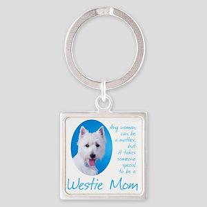 Westie Mom Square Keychain