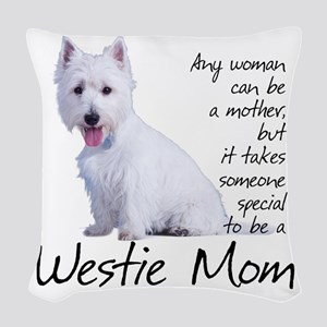Westie Mom Woven Throw Pillow