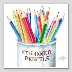 "Colored Pencils Square Car Magnet 3"" x 3"""