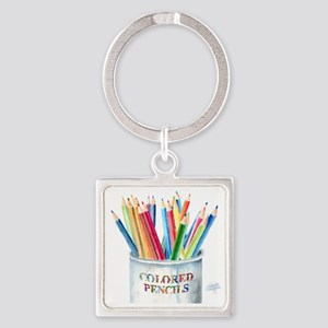 Colored Pencils Square Keychain
