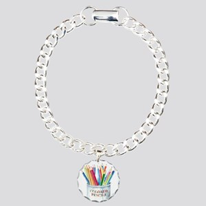 Colored Pencils Charm Bracelet, One Charm