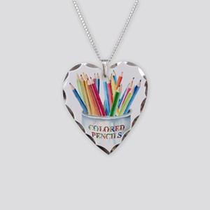 Colored Pencils Necklace Heart Charm