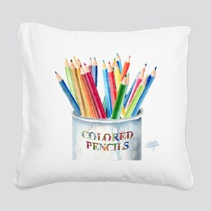 Colored Pencils Square Canvas Pillow