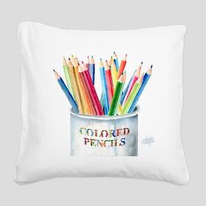 Colored Pencils Square Canvas Pillow