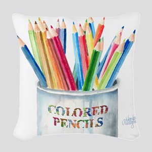 Colored Pencils Woven Throw Pillow