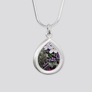 forget me not flowers Silver Teardrop Necklace