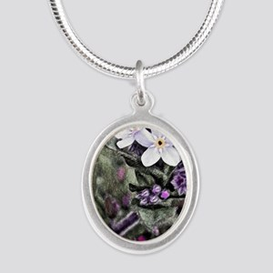 forget me not flowers Silver Oval Necklace