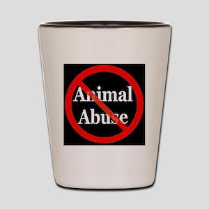 no_animal_abuse_black Shot Glass