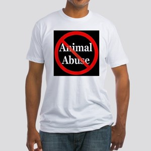 no_animal_abuse_black Fitted T-Shirt