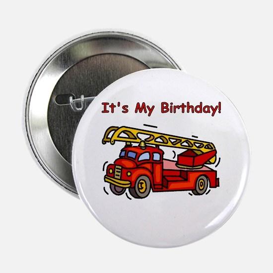 Fire Truck Birthday Button