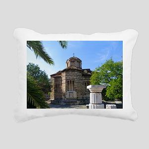 Byzantime church in Athe Rectangular Canvas Pillow