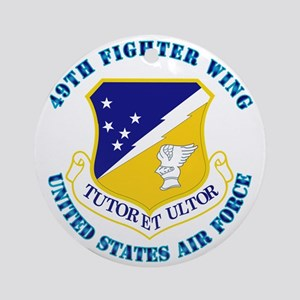 49th-Fighter-Wing-with-Text Round Ornament