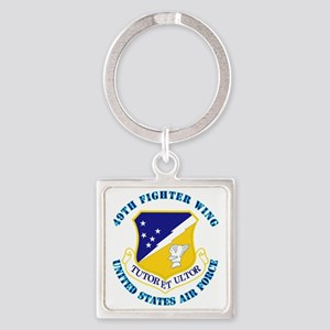 49th-Fighter-Wing-with-Text Square Keychain
