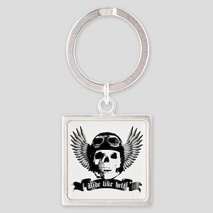 Biker Skull A sw Square Keychain