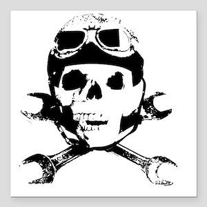 "Biker Skull B sw Square Car Magnet 3"" x 3"""